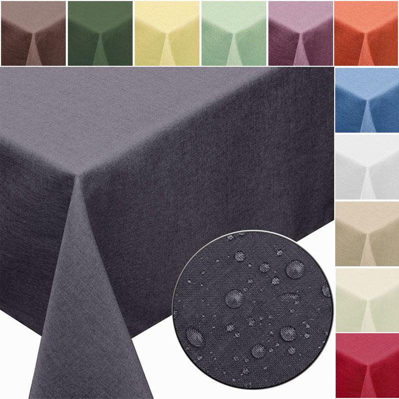 GARTENTISCHDECKE-Leinen-Optik-mit-Fleckschutz-abwaschbar-Lotus-eckig-rund-oval