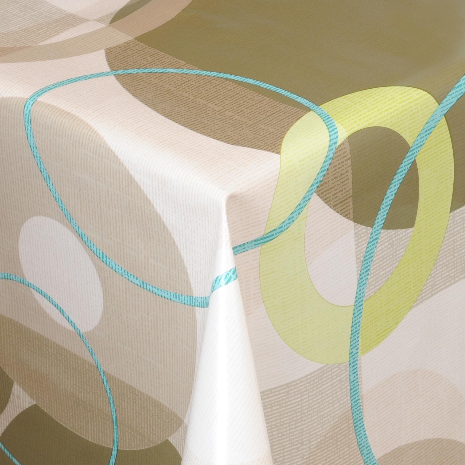 tischdecke abwaschbar wachstuch retro motiv gr n beige im. Black Bedroom Furniture Sets. Home Design Ideas