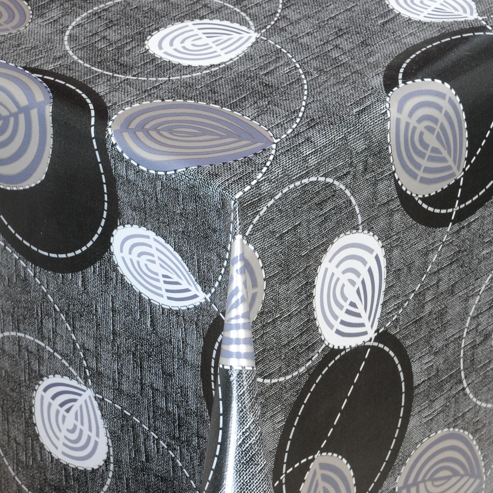 tischdecke abwaschbar wachstuch bl tter motiv schwarz im wunschma ebay. Black Bedroom Furniture Sets. Home Design Ideas