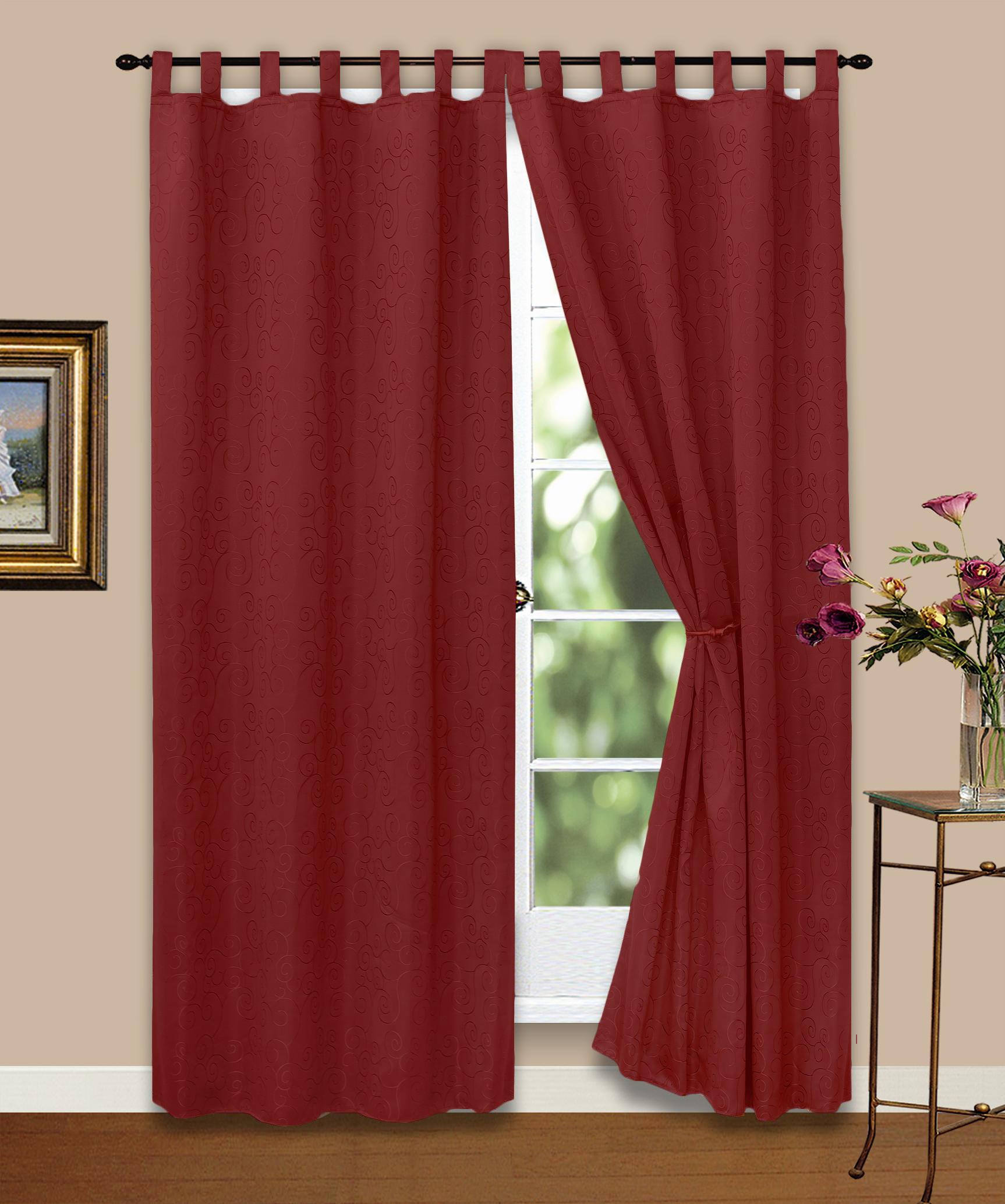 vorhang gardine blickdicht ornamente wein rot 140x245 cm. Black Bedroom Furniture Sets. Home Design Ideas